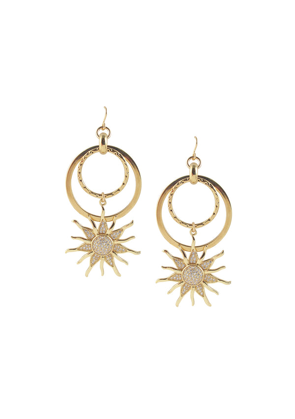 Diamond Illusion Gold Sun Dangle Earrings