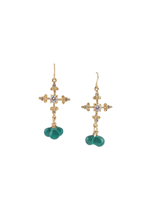 Green Onyx Diamond Illusion Gold Cross Earrings