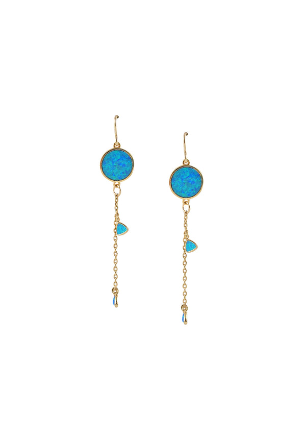 Blue Opal Dangle Earrings