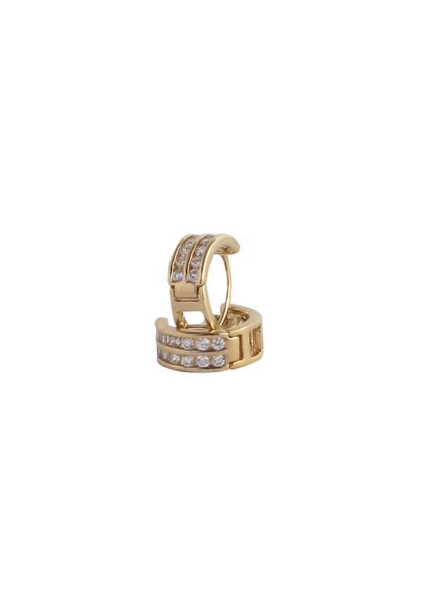 Small Diamond Illusion Gold Huggie Earrings
