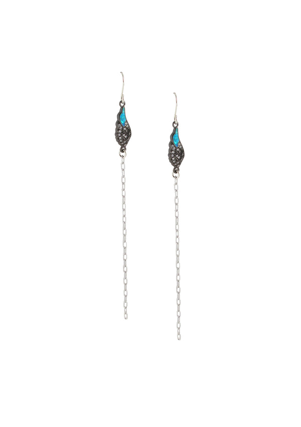 Diamond Illusion Gun Metal Opal Silver Earrings