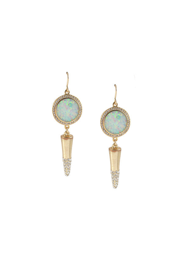 Diamond Illusion Moonstone Gold Spike Earrings