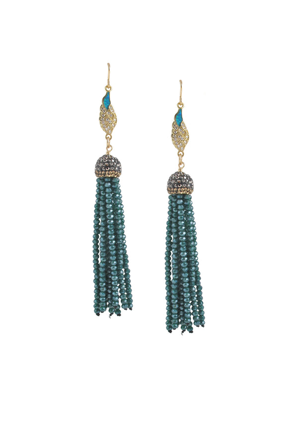 Diamond Illusion Blue Opal Teal Tassel Earrings