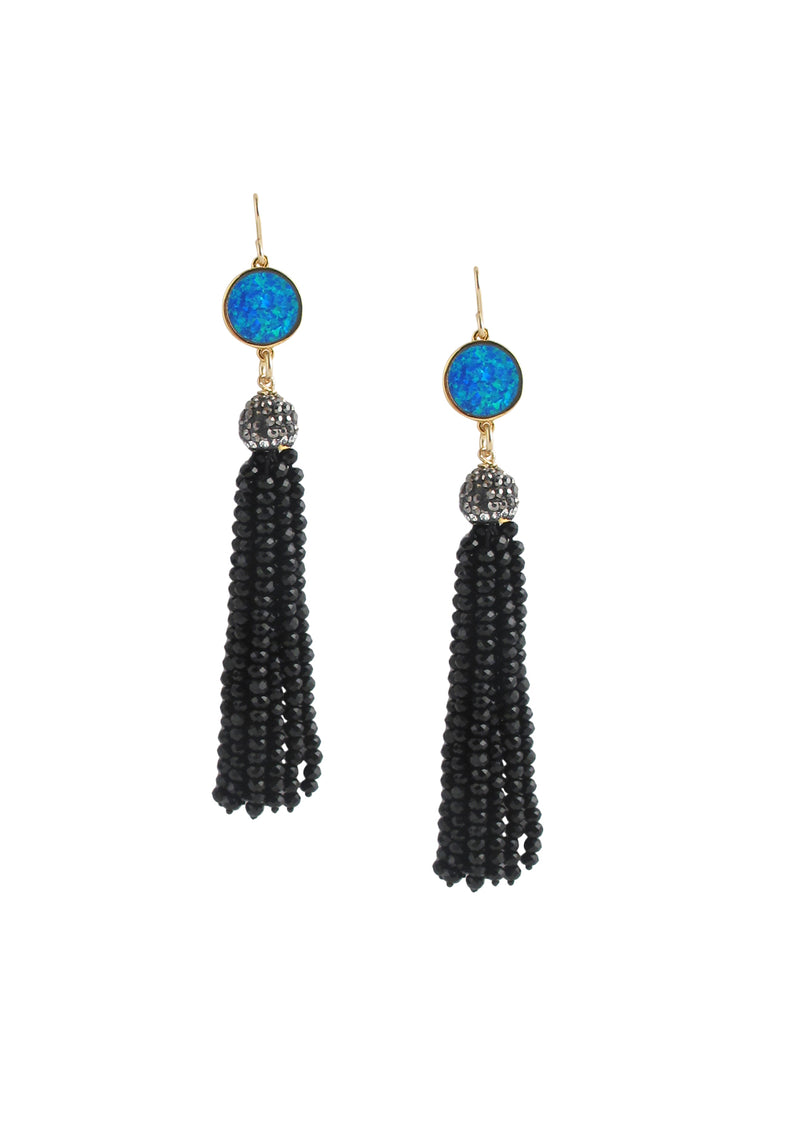 Blue Opal Black Tassel Earrings