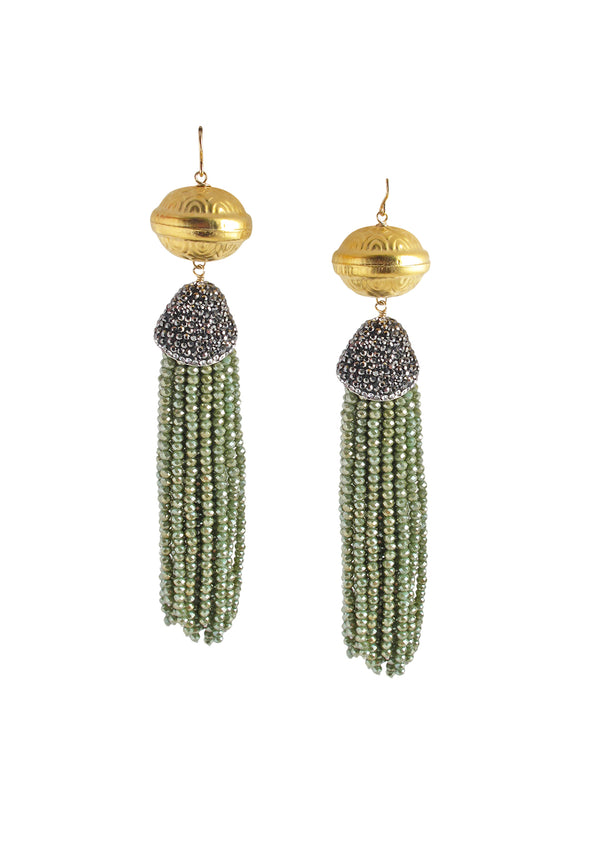 Gold Accent Green Crystal Tassel Earrings