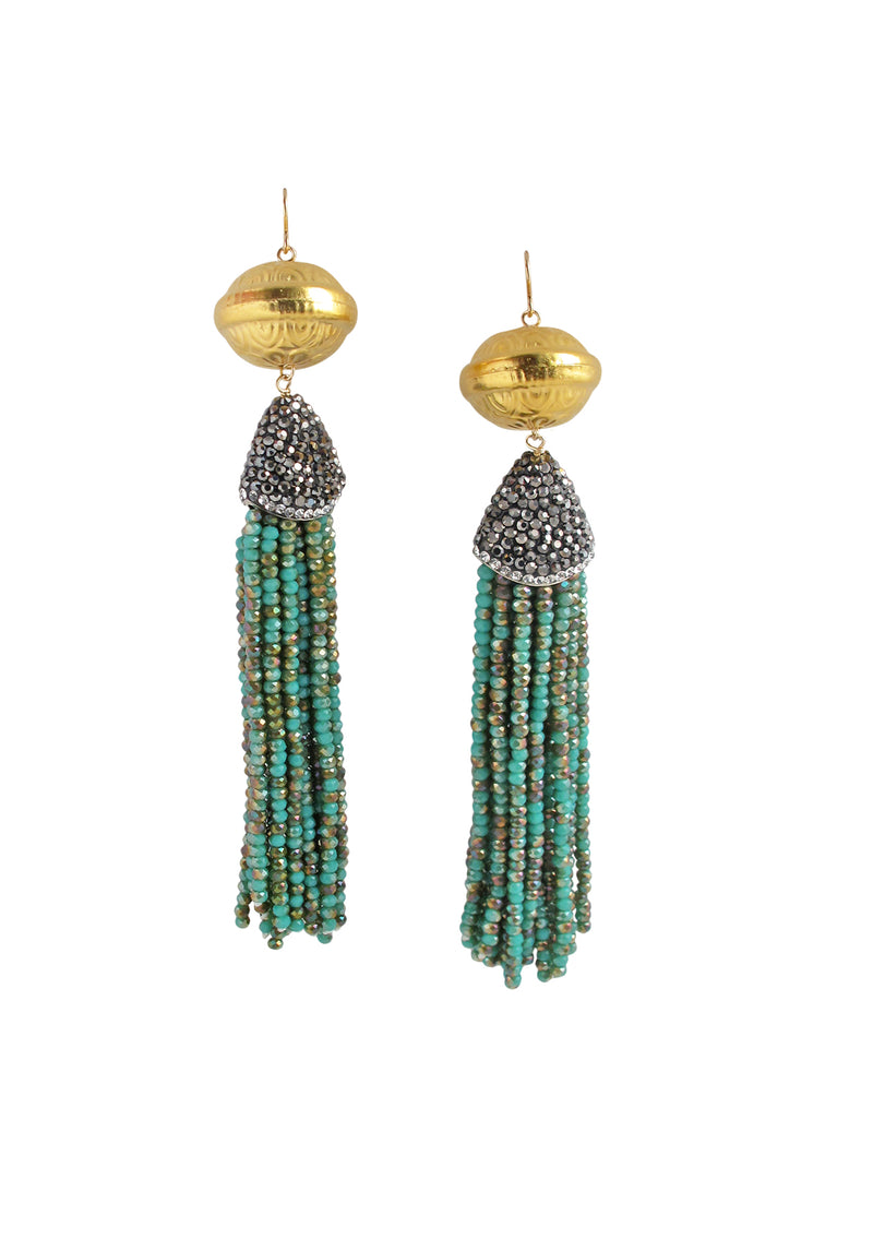 Gold Accent Turquoise Crystal Tassel Earrings