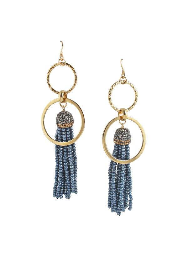 Blue Crystal Tassel Gold Link Earrings