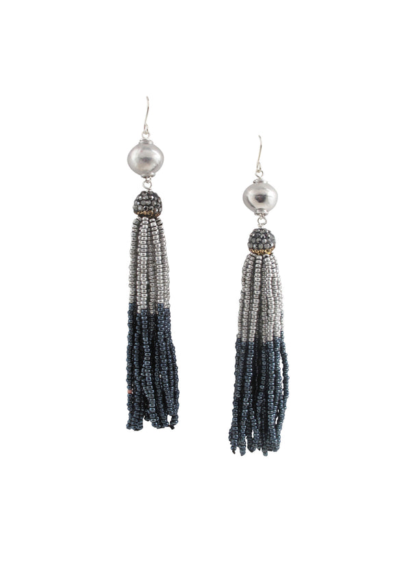 Rhodium Two-Tone Tassel Earrings