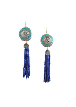 Turquoise Ethnic Accent Blue Tassel Earrings