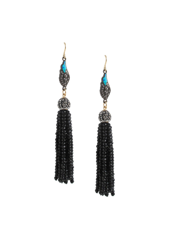 Crystal Blue Opal Charm Black Tassel Earrings
