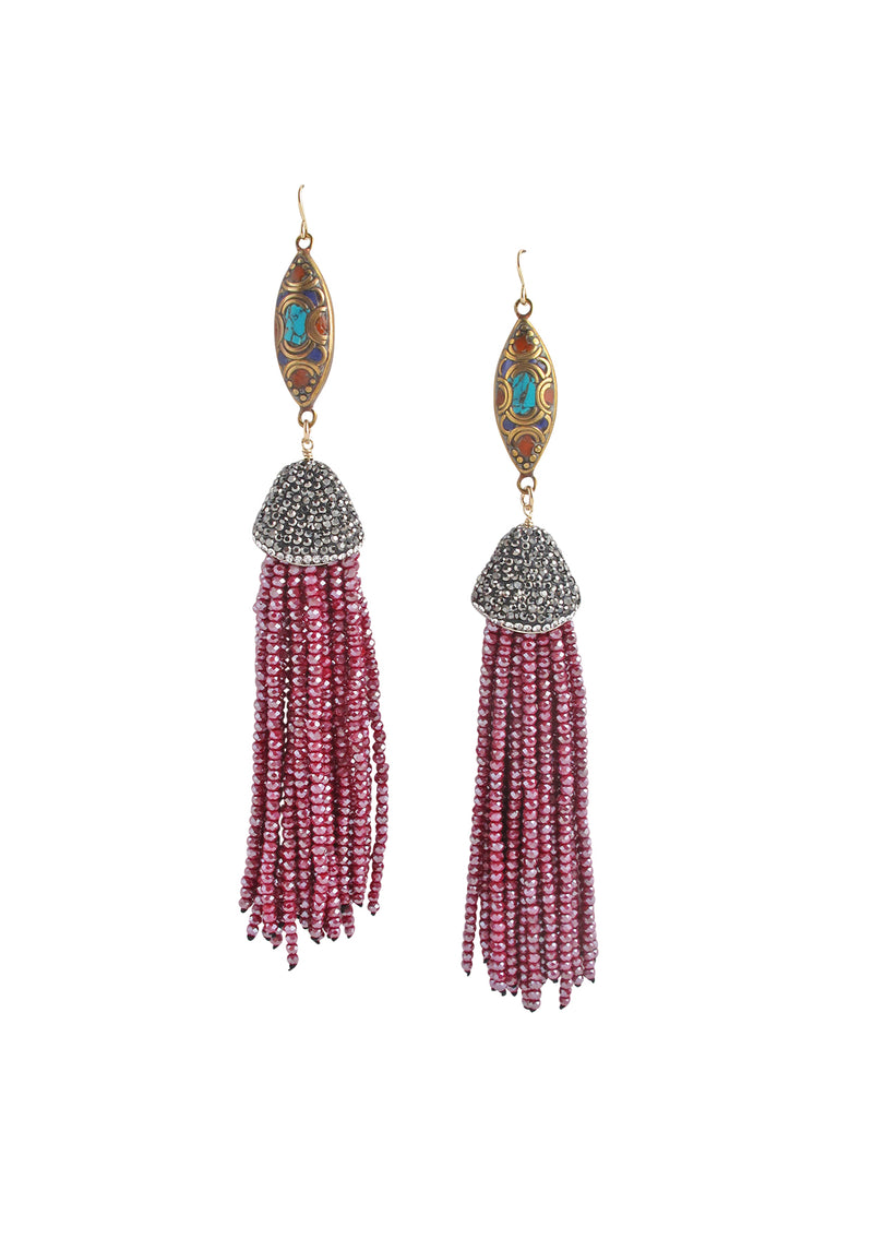 Ethnic Accent Ruby Crystal Tassel Earrings