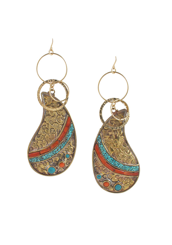 Turquoise Coral Brass Ethnic Earrings