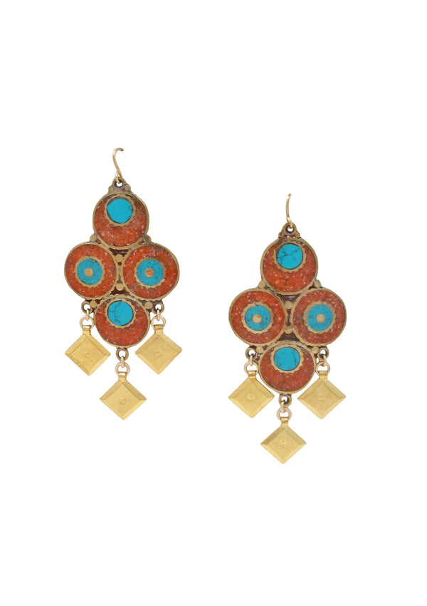 Gold Drop Coral Turquoise Ethnic Earrings