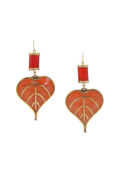 Coral in Gold Foil Coral Leaf Earrings