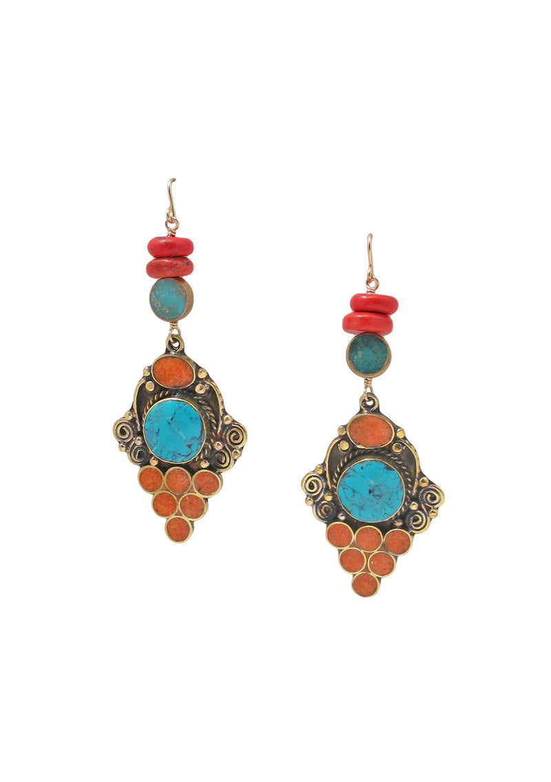 Turquoise Coral Ethnic Earrings