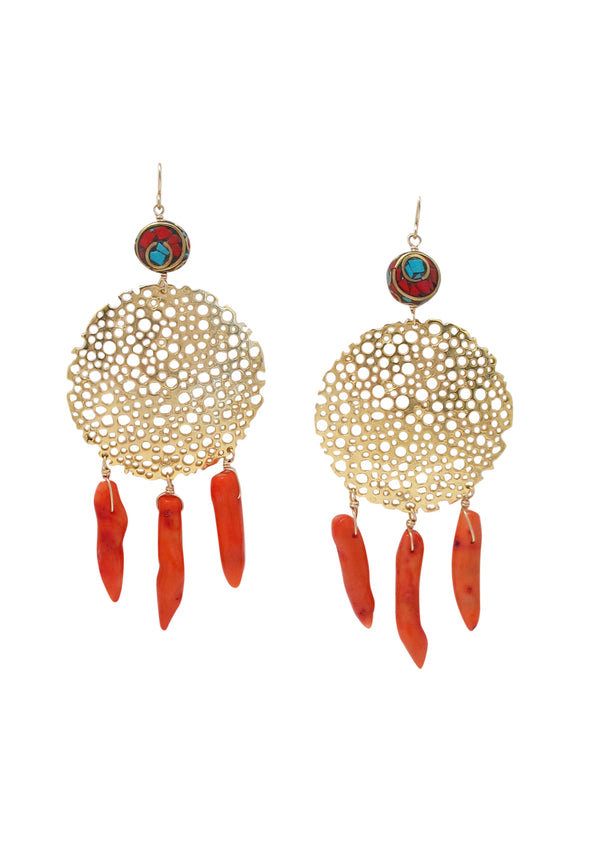 Coral Gold Filigree Ethnic Accent Earrings
