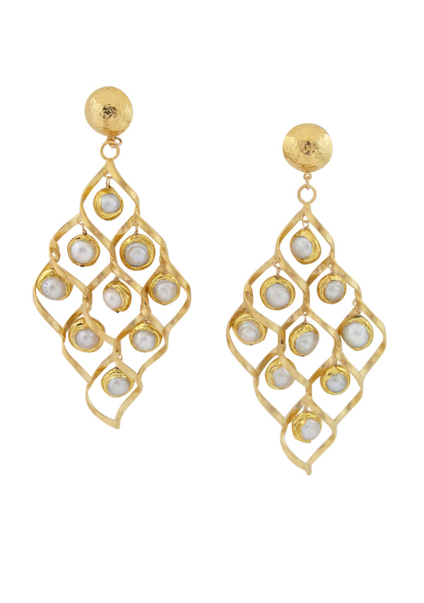 White Pearl Gold Trellis Chandelier Earrings