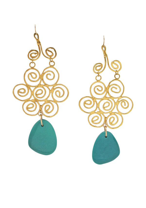 Chrysocolla Gold Trellis Chandelier Earrings