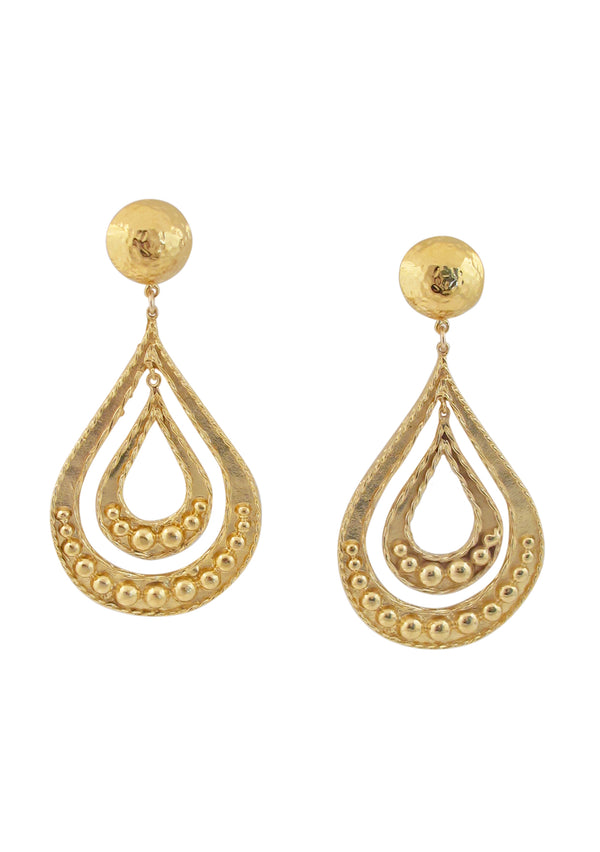 Double Teardrop Gold Post Earrings