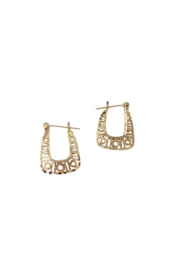 Gold Flat Filigree Hoop Earrings