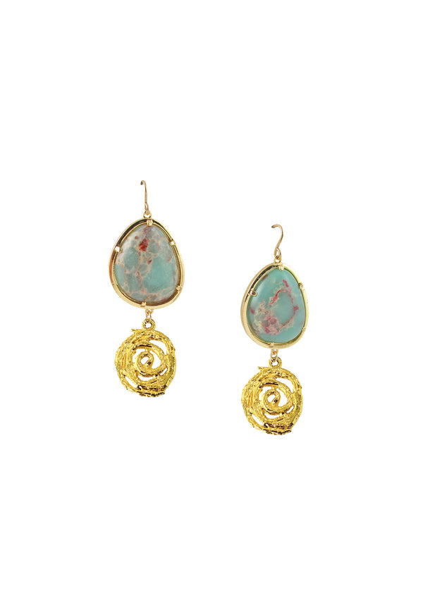 Aqua Terra Jasper Gold Drop Earrings