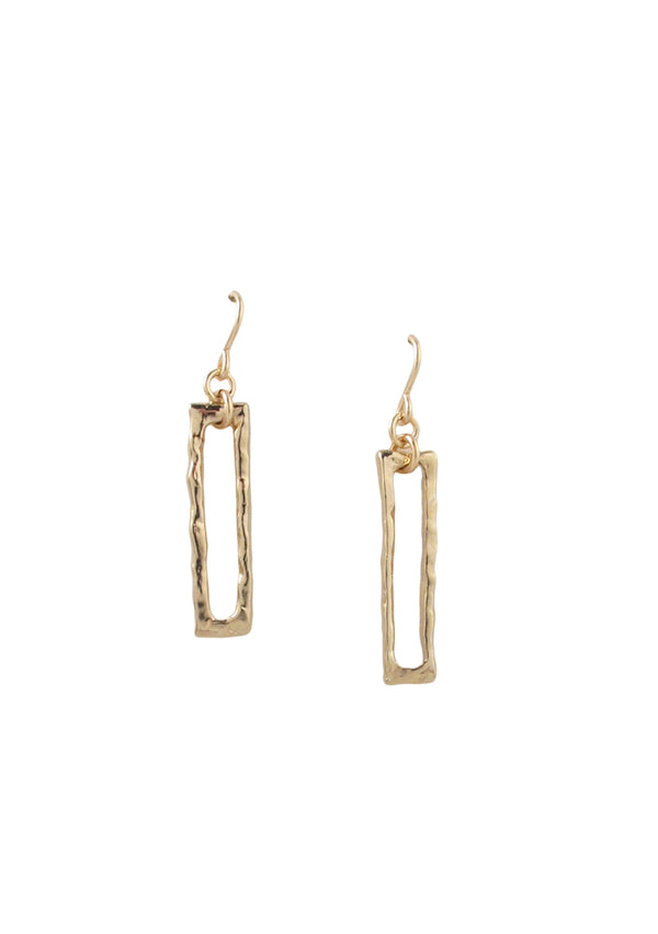 Textured Gold Slit Dangle Earrings