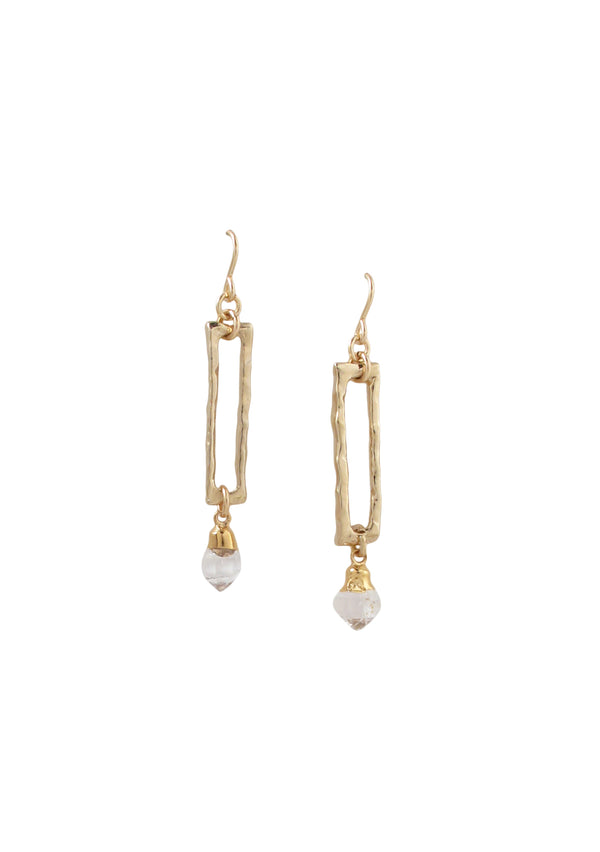 Herkimer Diamond Gold Dangle Earrings