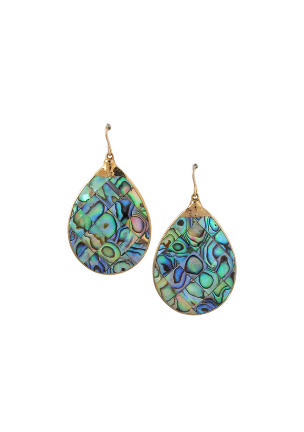 Abalone in Gold Foil Teardrop Earrings