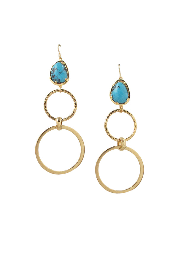 Turquoise Bezel Gold Link Earrings