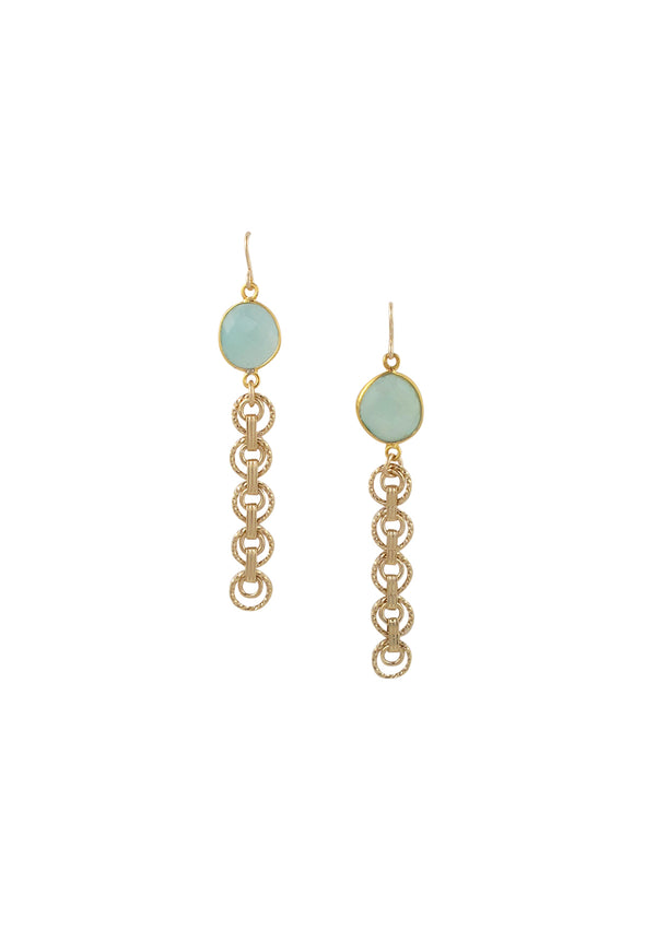 Aquamarine Bezel Gold Dangle Earrings