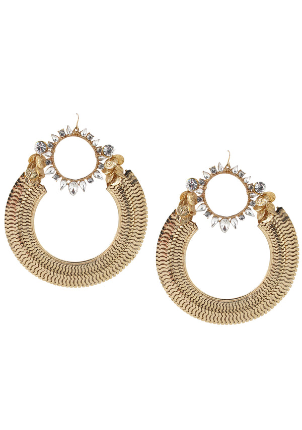 Extra Large Crystal and Gold Mesh Earrings