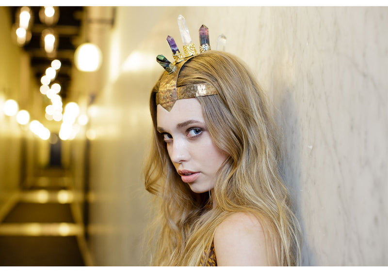 One of a Kind Crystal and Brass Headpiece