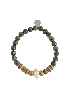 Labradorite Herkimer Diamond Stretch Bracelet