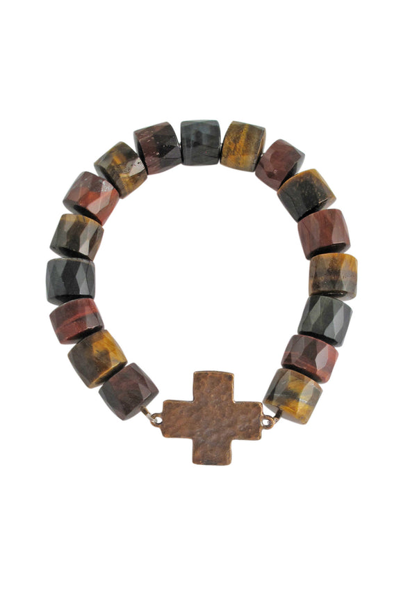 Tiger's Eye Brass Accent Stretch Bracelet