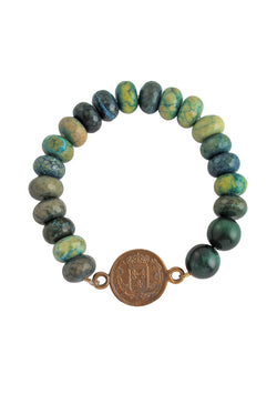 Green Chrysocolla Beaded Stretch Bracelet with Antiqued Coin pendant - Devon Leigh