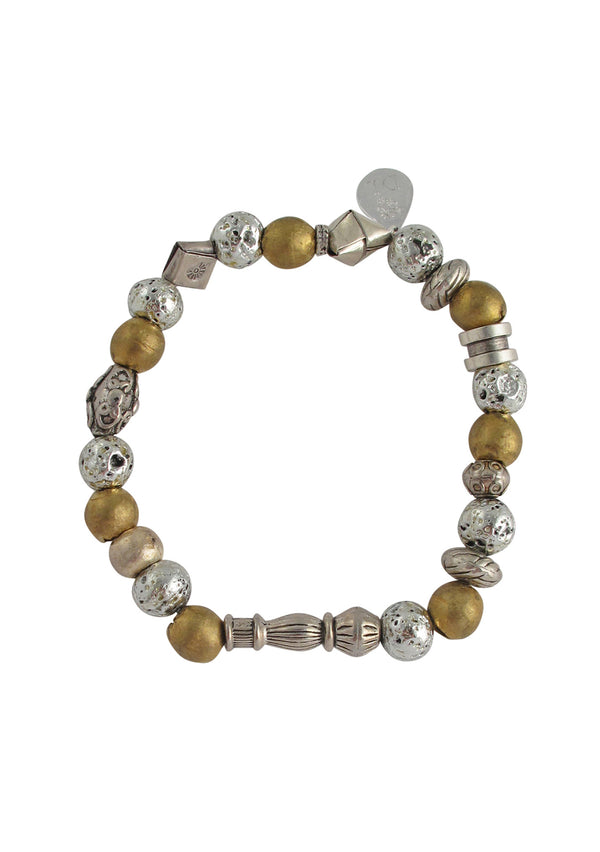 Silver Pyrite Brass Stretch Bracelet