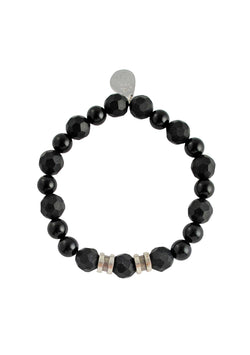 Black Onyx White Brass Stretch Bracelet