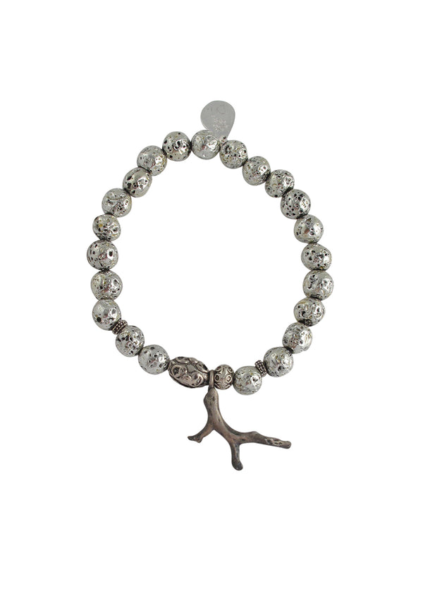 Silver Pyrite Branch Stretch Bracelet