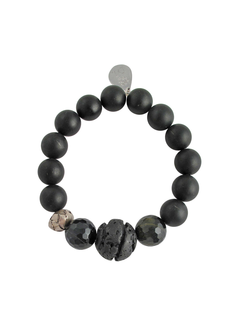 Black Onyx Lava Stretch Bracelet
