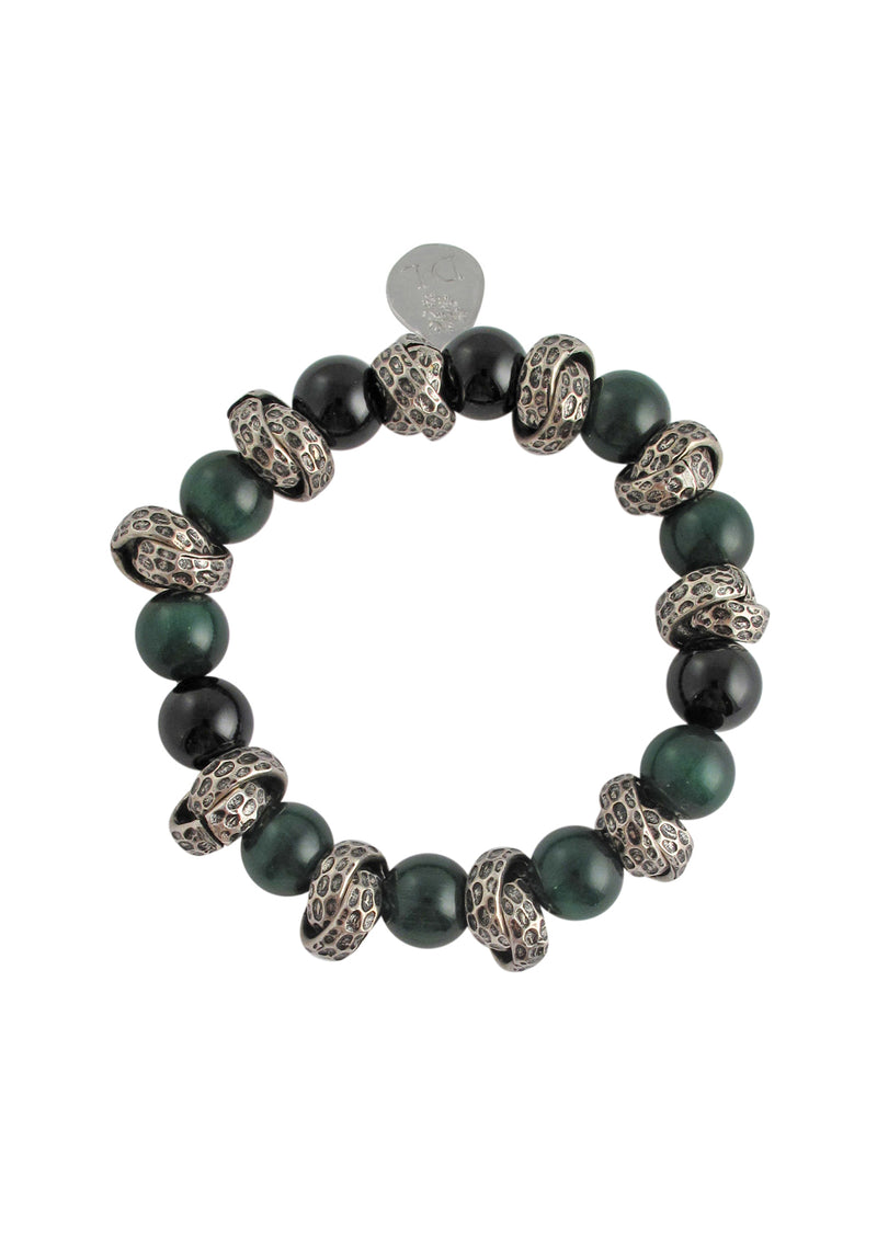 Malachite Oxidized Silver Stretch Bracelet