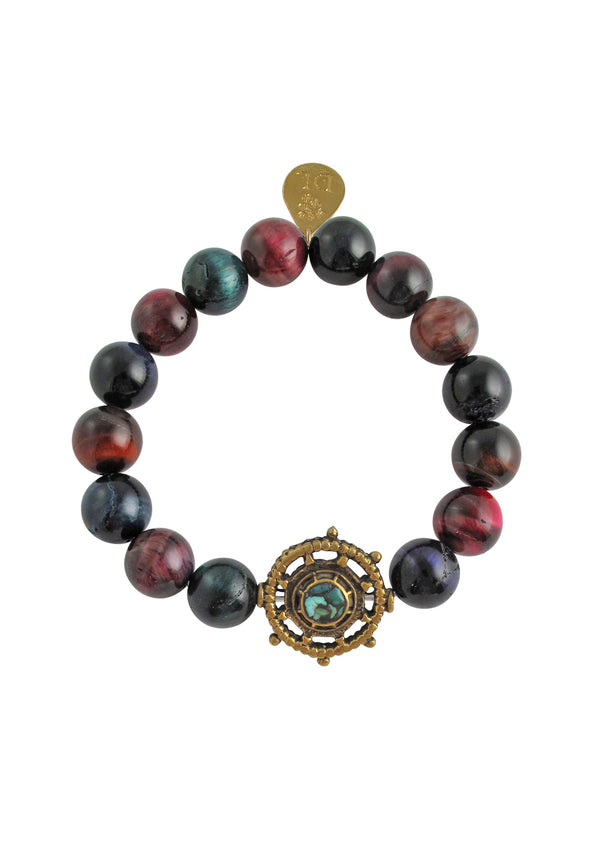 Pink Tiger's Eye Brass Charm Stretch Bracelet