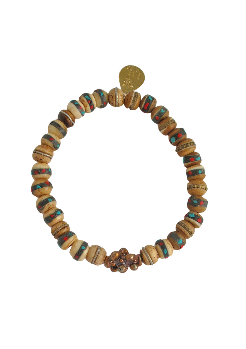 Tibetan Bead Brass Stretch Bracelet