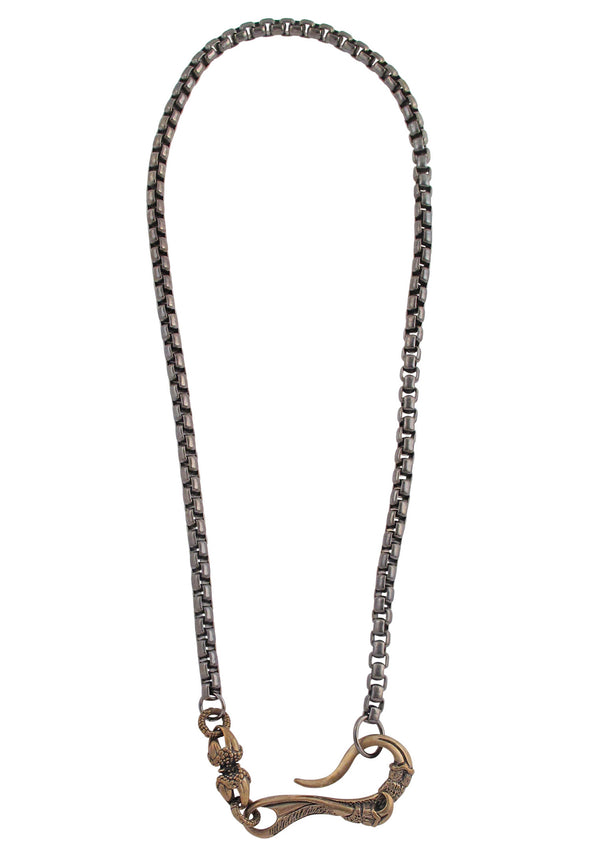 Gun Metal Brass Hook Necklace