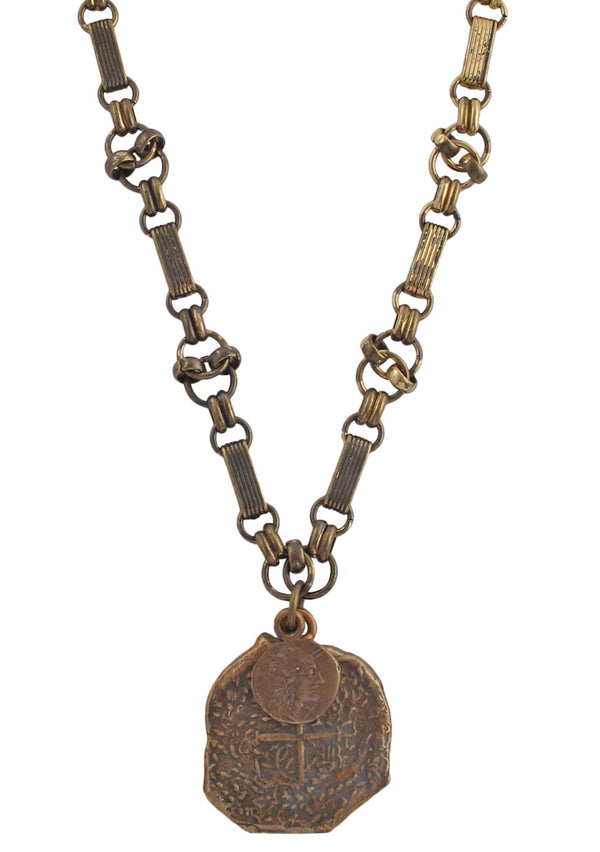 Double Bronze Coin Pendant Necklace