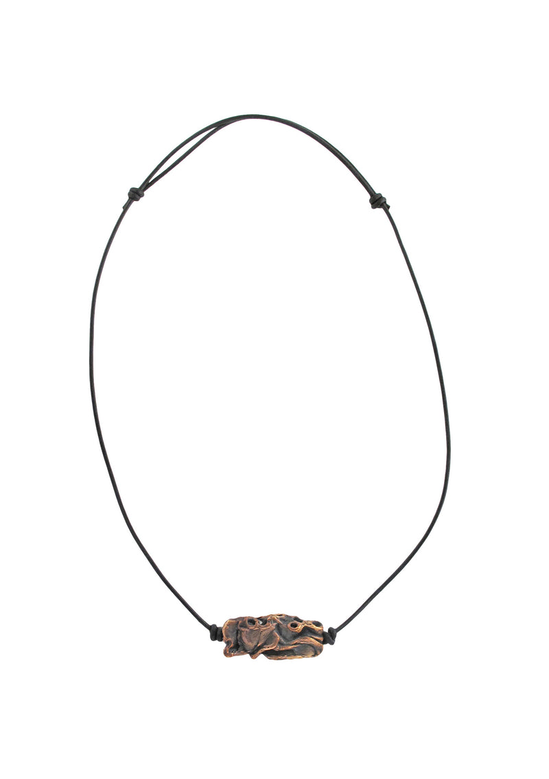Devon Leigh Unisex, rustic boho necklace with adjustable leather cord and hand-carved bronze tribal pendant.