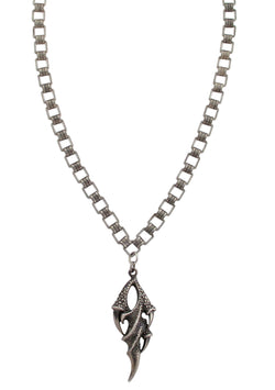 Oxidized Silver Claw Pendant Necklace