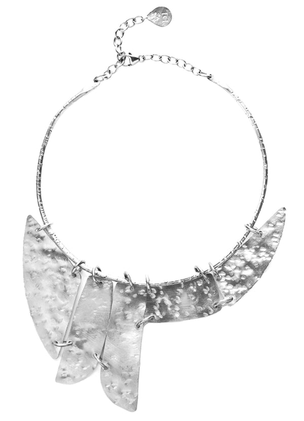 Hammered Multi Plate Collar Necklace