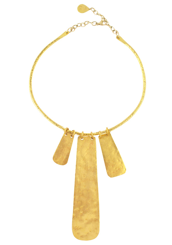 Gold Hammered Plate Necklace