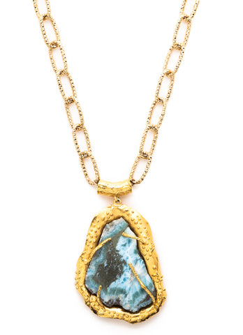 Free Form Turquoise and Gold Pendant Necklace