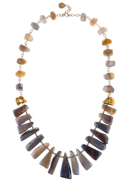Long Gray Agate Spike Botswana Agate Necklace